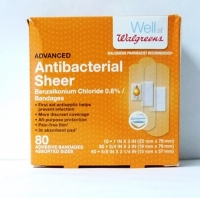 Walgreens Antibacterial Sheer Bandages 80 CT