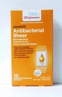 "Walgreens Antibacterial Sheer Bandages 2""x 4"" 10 ct"